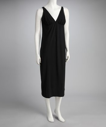 Black Maternity & Nursing V-Neck Nightgown
