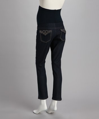 Dark Denim Sparkle Over-Belly Maternity Skinny Jeans
