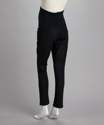 Blue & Black Over-Belly Maternity Skinny Jeans