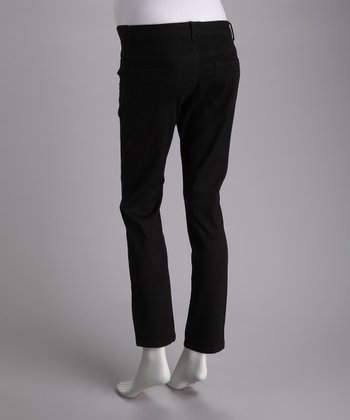 Black Side-Panel Stretch Over-Belly Maternity Skinny Jeans