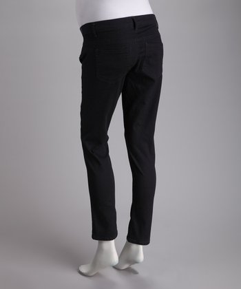 Blue & Black Side-Panel Stretch Maternity Skinny Jeans
