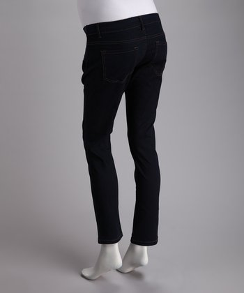 Blue Side-Panel Stretch Over-Belly Maternity Skinny Jeans