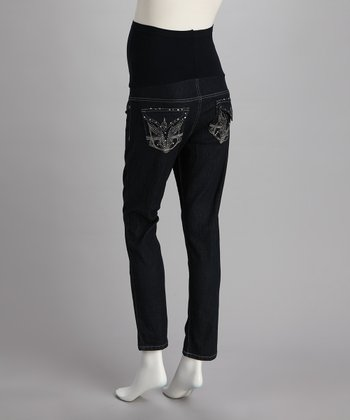 Dark Denim Embellished Over-Belly Maternity Skinny Jeans