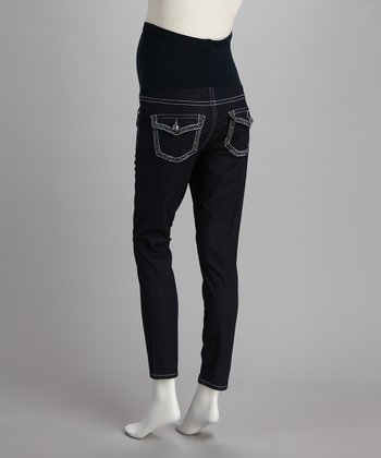 Blue Over-Belly Stiched Pocket Maternity Skinny Jeans