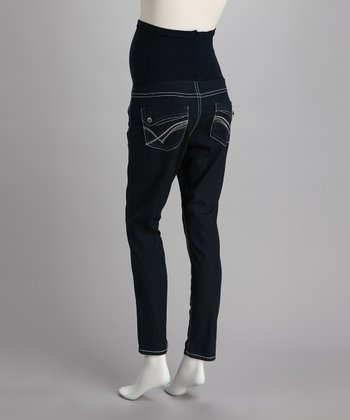 Blue Pocket Over-Belly Maternity Skinny Jeans - Women