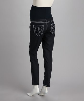 Blue Stitched Over-Belly Maternity Skinny Jeans