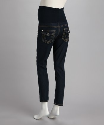 Blue Stitched Button Over-Belly Maternity Skinny Jeans