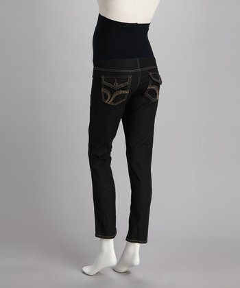 Dark Over-Belly Embroidered Maternity Skinny Jeans