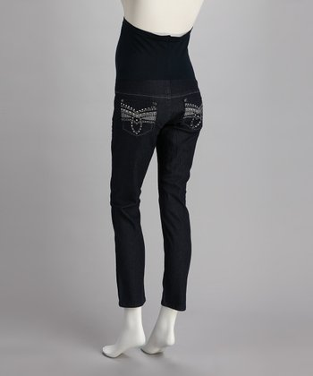 Blue Embellished Over-Belly Maternity Skinny Jeans