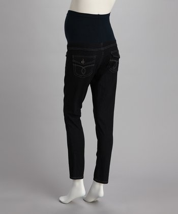 Dark Denim Pocket Over-Belly Maternity Skinny Jeans