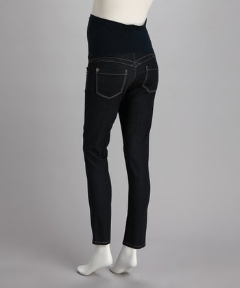 Blue Stiched Pocket Over-Belly Maternity Skinny Jeans