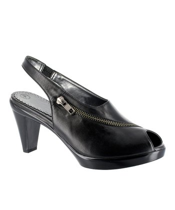 Black Snappy Peep-Toe Slingback