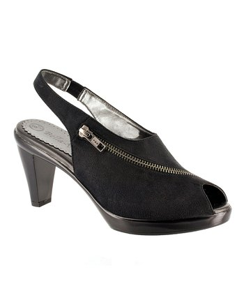 Black Super Suede Snappy Peep-Toe Slingback