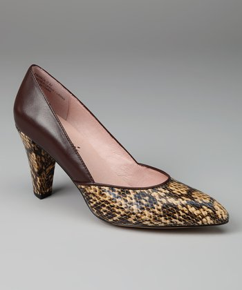 Beige & Brown Snakeskin Franca Pump