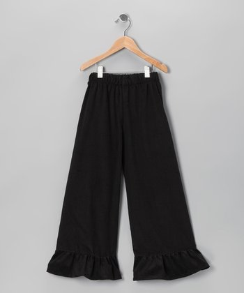 Black Corduroy Ruffle Pants - Infant