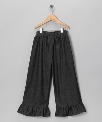 Black Denim Ruffle Pants - Infant