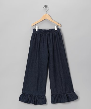 Blue Denim Ruffle Pants - Infant & Girls