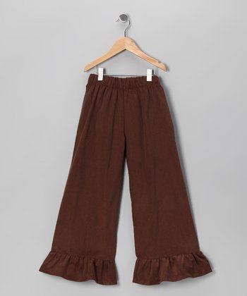 Brown Corduroy Ruffle Pants - Infant