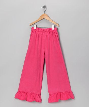 Hot Pink Corduroy Ruffle Pants - Infant