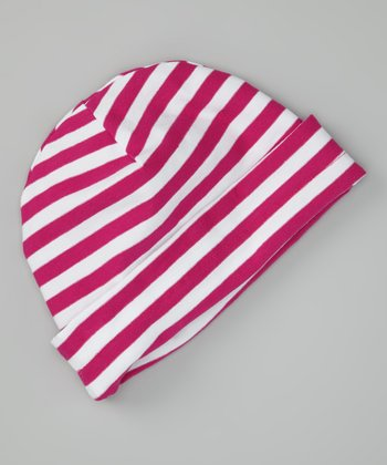 Raspberry & White Stripe Beanie