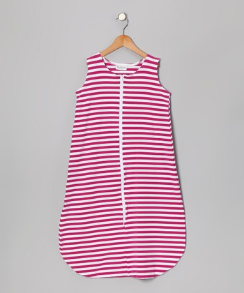 Raspberry & White Stripe Sleeping Sack - Infant