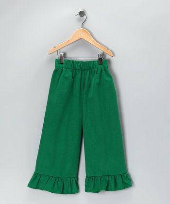 Green Corduroy Ruffle Pants - Infant, Toddler & Girls