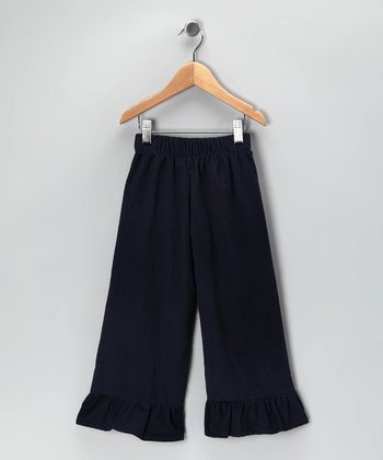 Navy Corduroy Ruffle Pants - Infant, Toddler & Girls