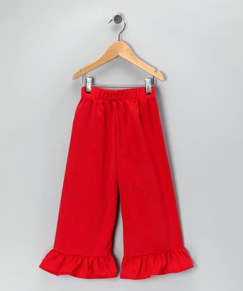 Red Corduroy Ruffle Pants - Infant & Girls