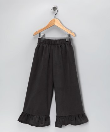 Charcoal Corduroy Ruffle Pants - Infant, Toddler & Girls