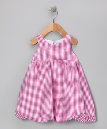 Fuchsia Gingham Bubble Dress - Girls