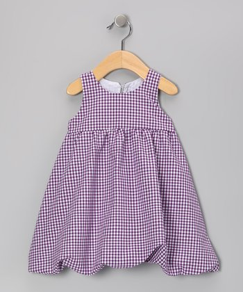Purple Gingham Bubble Dress - Infant & Girls