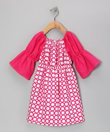 Fuchsia & White Polka Dot Peasant Dress - Toddler & Girls