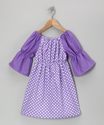 Purple & White Polka Dot Peasant Dress - Toddler & Girls
