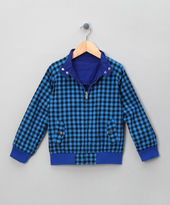 Blue Electric Reversible Harrington Jacket - Toddler & Boys
