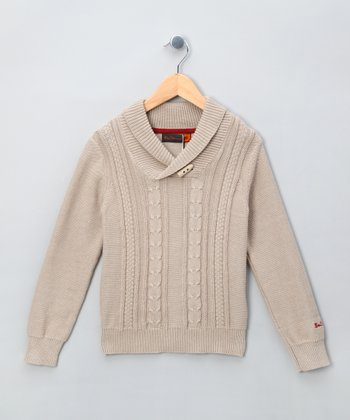 Oatmeal Cable-Knit Sweater - Boys
