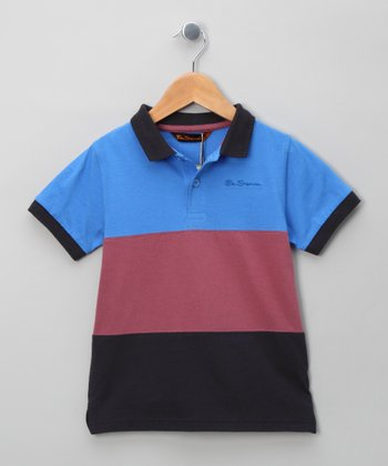 Classic Navy & Burgundy Block Stripe Polo - Boys