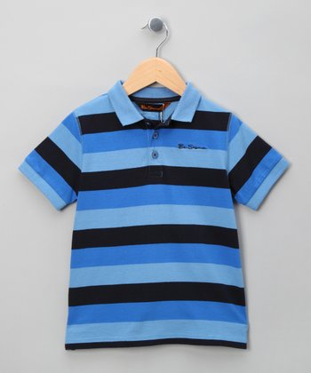 Air Blue & Royal Stripe Polo - Boys