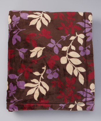 Plum Foliage Sablesoft Luxury Throw