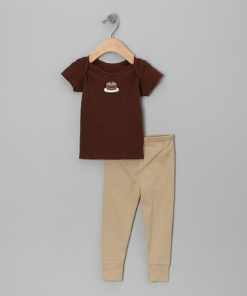 Brown Chocolate Cake Tee & Tan Leggings