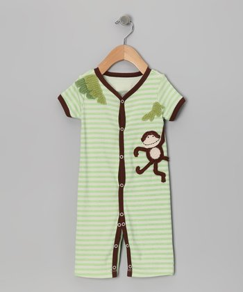 Green Stripe Wild Thing Button-Up Romper