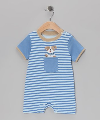Blue Stripe Dog Romper
