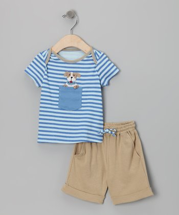Blue Dog Tee & Tan Pants - Infant
