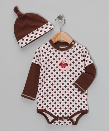 Brown & Pink Argyle Owl Bodysuit & Single-Knot Beanie