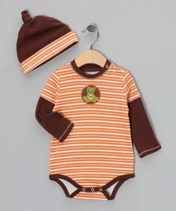 Brown & Fanta Stripe Frog Layered Bodysuit & Single-Knot Beanie