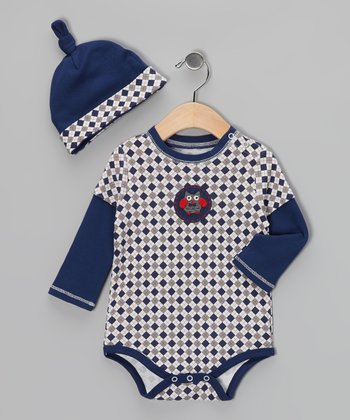 Navy & White Argyle Owl Bodysuit & Single-Knot Beanie - Infant