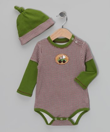 Avocado & Brown Race Car Layered Bodysuit & Single-Knot Beanie
