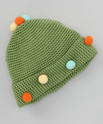 Green Ball of Fun Crochet Beanie