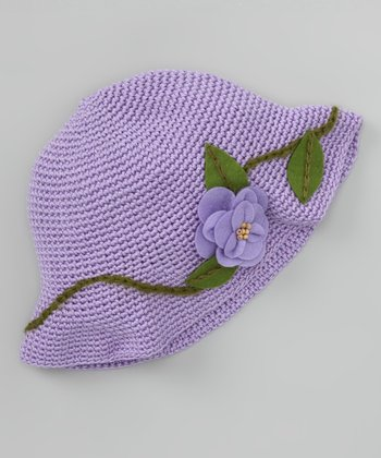 Lilac Blooming Flower Crochet Bucket Hat