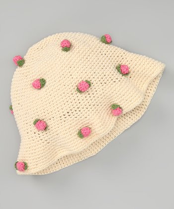 Natural Floral Arrangement Crochet Bucket Hat