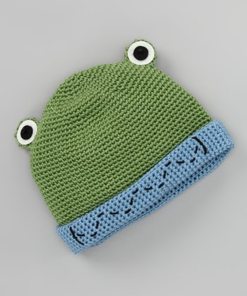 Green & Blue Froggy Crochet Beanie
